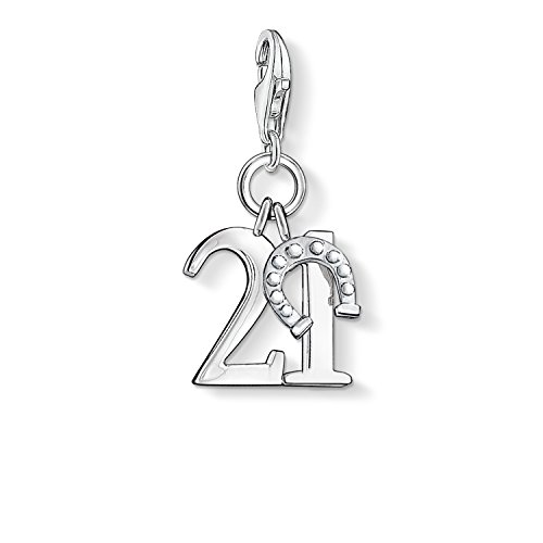 Thomas Sabo Damen-Charm-Anhänger Glückszahl 21 Charm Club 925 Sterling Silber 0460-001-12
