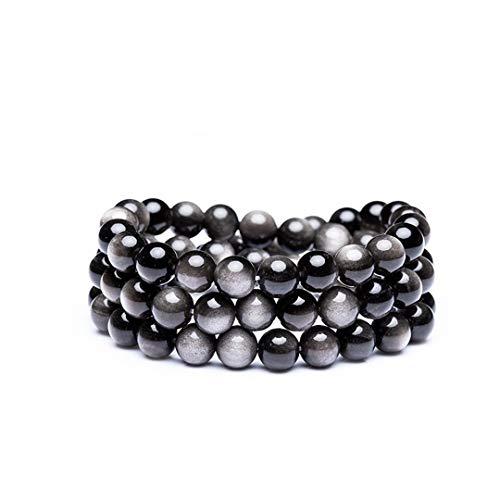 DUOVEKT Pulsera de obsidiana de plata natural de 6 mm, joyería para mujeres y hombres, cuentas redondas de cristal, buena suerte, riqueza, energía, regalos de piedra elástica