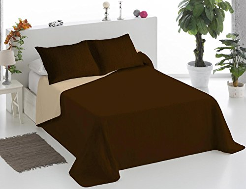 Sedalinne Colcha bouti Bicolor MR. Cama 90 cm. Chocolate-Beig