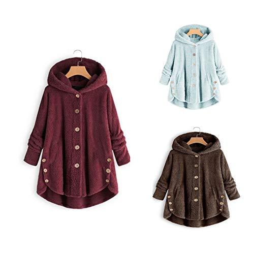 DevilaLover 女装冬季保暖外套,宽松长款连帽毛绒上衣不规则秋冬季外套,适合休闲户外散步娱乐,Wine-red,L