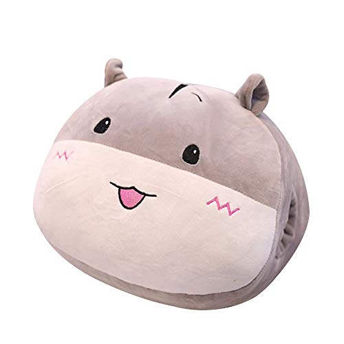 FineInno Kuscheltier Handwärmer Stofftier Plüschtiere Plüsch Kissen Spielzeug Stuffed Hand Warmer Pillow Weich Zierkissen Kopfkissen, 13,8x11,8inch (Grauer Hamster)