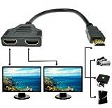 Pistache 1080p HDMI mâle vers Double HDMI Femelle de 1à 2Voies Splitter câble Adaptateur convertisseur pour lecteurs de DVD...