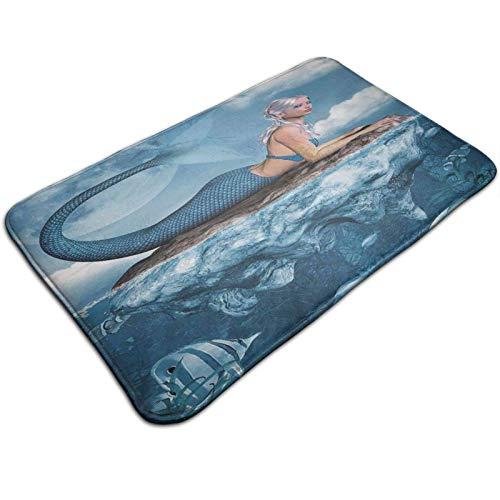 AISIJD Alfombra de baño de 76 x 50 cm, antideslizante, espuma viscoelástica, diseño de delfín y niña de sirena en el mar, color azul, para bañera, ducha y baño