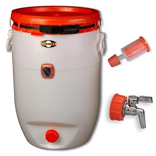 Speidel Getränkefass Rund 60 Liter mit Messing Auslaufhahn incl. Gärspund