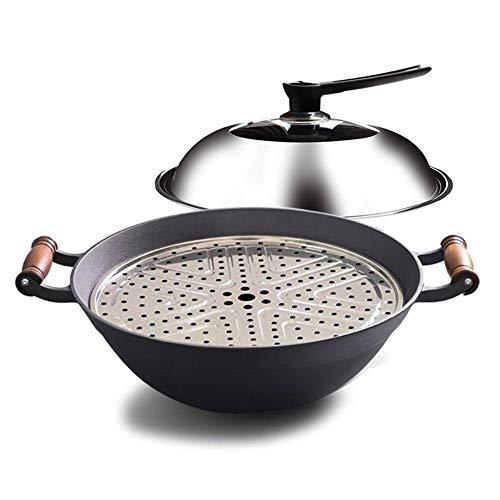 ZLJ Wok Profesional Grande Antiadherente con Tapa Utensilios de Cocina para los Regalos de su hogar (Color: Negro Tamaño: 32 cm)