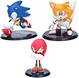 LJXGZY 9 unids/Set Sonic The Hedgehog Miles Knuckles PVC Acción Película Modelo de Juego Anime Fans Regalo Figura Colección Decoración Modelo Regalo de cumpleaños Estatua