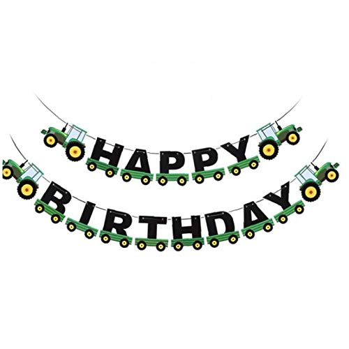 Angoter Tractor Birthday Banner Tractor Garland Bunting for Tractor Birthday Party Supplies Green
