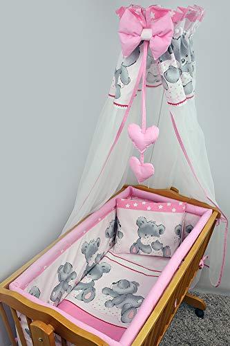 Lot de 7 Parure de lit de berceau avec polyvalent Bumper 90 x 40 + Ciel de lit et nœud