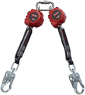 3M Protecta 3100413 Self Retracting Lifeline Rebel 6' (18M) Web Twin, Steel Swivel Snap Hook and Carabiner, Black/Red