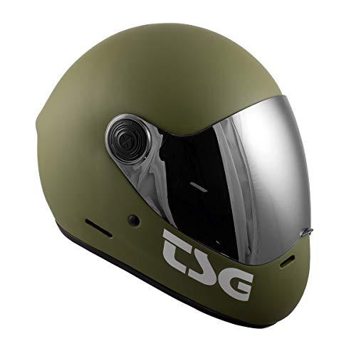 TSG - Pass Full-face Helmet with Two Visors Included | for Downhill Skateboarding, E-Skating, E-Onewheeling, Longboarding | MOlive, Small