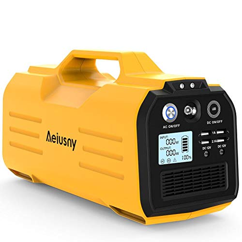 Aeiusny Portable Power Station, 296Wh/300W Solar Generator Power Supply CPAP Backup Lithium Battery, 110V Pure Sinewave AC Outlet, 12V DC, USB Output for Outdoors Camping Trip Fishing Emergency
