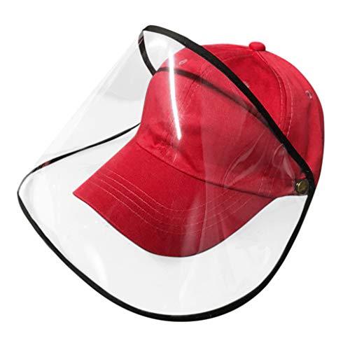 FUN FAN LINE - Cappellino da Baseball con Schermo o Maschera Protettiva Trasparente per la Sicurezza. Protezione per Il Viso. (Rosso)