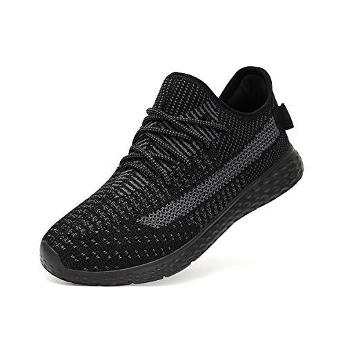 Sneaker da Uomo - Scarpe Casual da Passeggio Moda Sneaker Antiscivolo Mocassino da Ginnastica Sportiva da Corsa All'Aperto (39 EU, Nero)