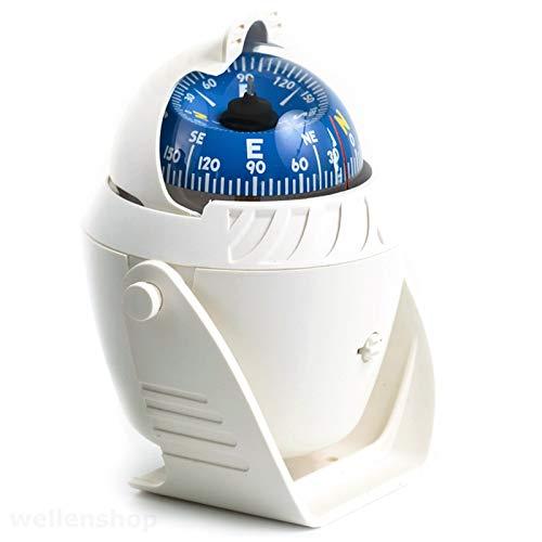 wellenshop Bootskompass 12V LED Beleuchtet mit Sonnenschild 5° Skalierung Weiß Kunststoff ABS Marinekompass Plattenkompass Kompass Boot