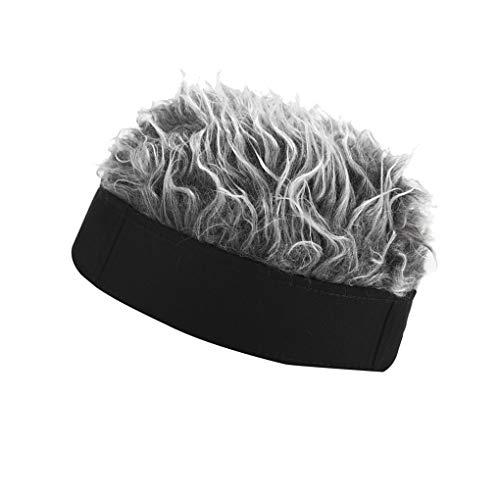 teng hong hui Unisex-Fälschungs-Haar-Hut Männer Frauen Haar Kappe Kurze Perücke Cap Elastic Strickmütze Feiertags-Partei Custome Geschenk, Schwarz, Silbergrau
