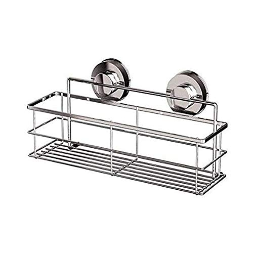 GAN ZWH-Towel Rack Practical Storage Shower Suction Basket Kitchen Bathroom And Kitchen Rust Rectangular Suction Cup Stainless Steel Adjustable Base 30x8cm