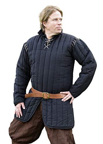 Battle-Merchant Gambeson mit abnehmbaren Ärmeln, schwarz für Schaukampf - Mittelalter - LARP - Wikinger Größe XL