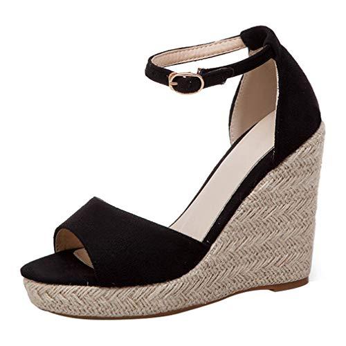 LUXMAX Damen High Heels Keilabsatz Sandalen Espadrilles Plateau Sandaletten mit Riemchen Schuhe Schwarz 38