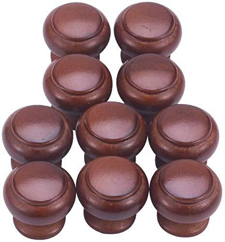 MroMax Pomos redondos de madera, 25 mm de diámetro, tiradores de muebles de cocina, tiradores para aparador, cajón, armario, color rojo oscuro, 10 unidades