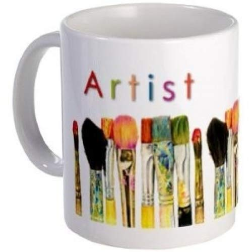 ARTIST - an Original Art by Tracey Print of Paint Brushes on an 11oz Ceramic Coffee Cup Mug Artwork by Tracey