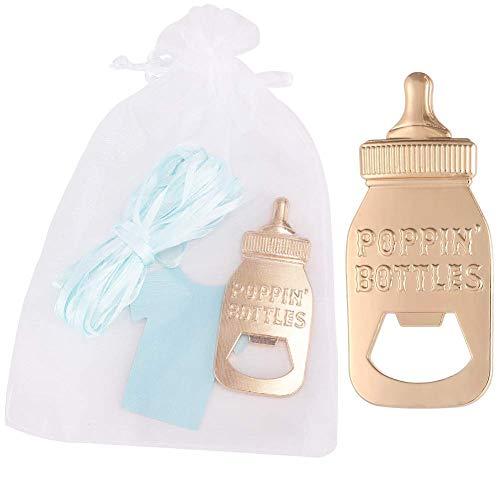 Yuokwer - Confezione da 12 apribottiglie a forma di bottiglia, per il primo compleanno, per invitati, matrimoni, feste, souvenir e feste di compleanno (blu, 12)