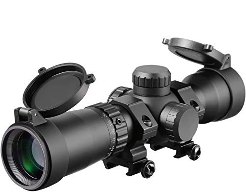 1.5-5x32 Crossbow Scope, 20-100 Yards Ballistic Reticle,300 FPS - 425 FPS Speed Adjustment Red Green...