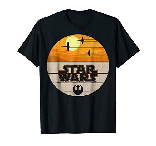 Star Wars Last Jedi X-Wing Sunset Vintage Graphic T-Shirt