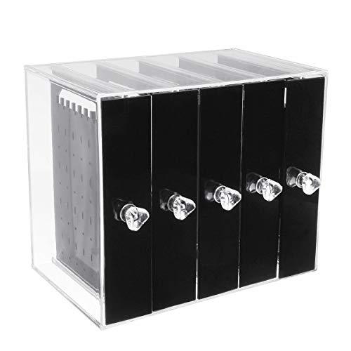 xingxing Storage & Organization - Caja de almacenamiento para pendientes de acrílico transparente (5 bandejas)