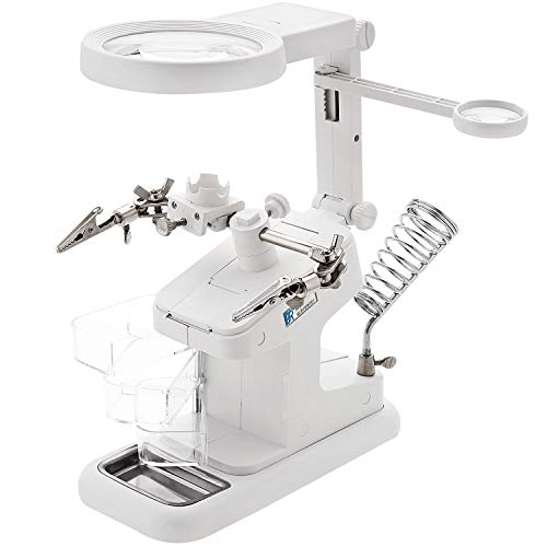 HunterBee LED Light USB Helping Hands Soldering Station with Adjustable Alligator Clips Third Work Stand Hand Iron lamp Holder 3X 4.5X 25X Magnifier—White
