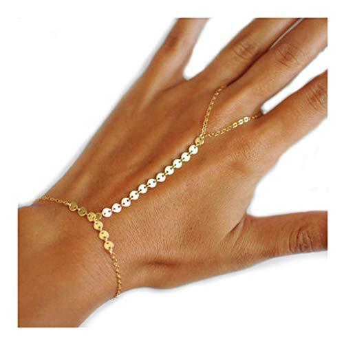 AmDxD Damen Armband Rund Handketten Ringe Armband Damenarmband Silber - 16CM