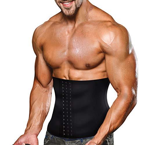 Bingrong Faja Reductora Adelgazante Hombres Faja Reductora Cinturón Lumbar Abdomen Ajustable para Deporte Fitness Efecto Sauna para la Quema de Grasa (Negro, L)