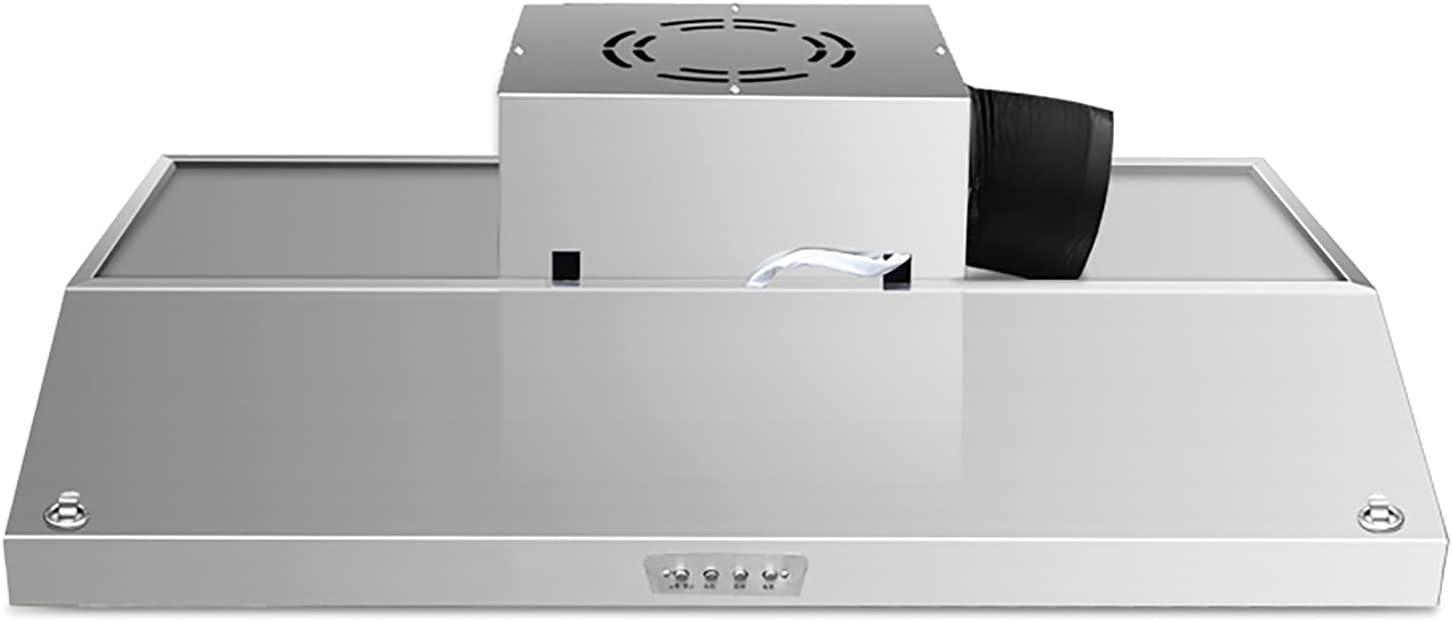 PEIHAN Campana extractora, Campana con conductos, Campana extractora Delgada para Cocina con Ventilador de 2 velocidades, filtros de Malla de Acero Inoxidable, Luces LED, botón pulsador