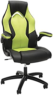 OFM Essentials Collection High-Back Racing Style Bonded Leather Gaming Chair, in Green