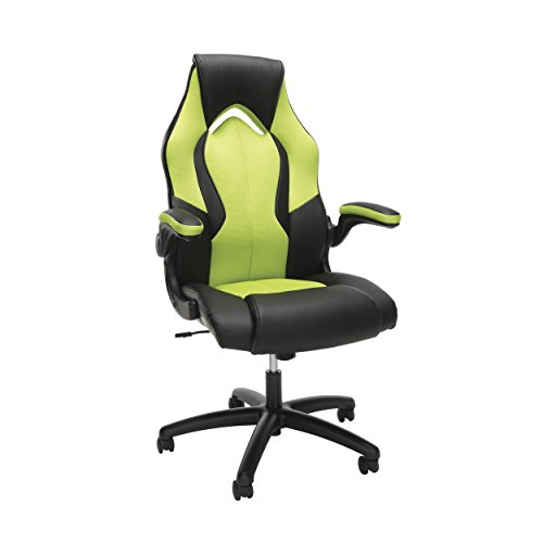 OFM Essentials Collection High-Back Racing Style Bonded Leather Gaming Chair, in Green...