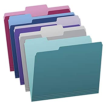 Pendaflex Two Tone Color File Folders Letter Size Assorted Colors  Teal Violet Gray Navy and Burgundy  1/3-Cut Tabs 5 Color 100/Box  02315