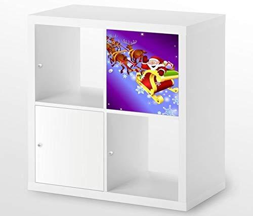 Möbelaufkleber für Ikea KALLAX / 1x Türelement Schlitten Kinderzimmer Renntier Kat2 Weihnachtsmann Aufkleber Möbelfolie sticker (Ohne Möbel) Folie 25D383