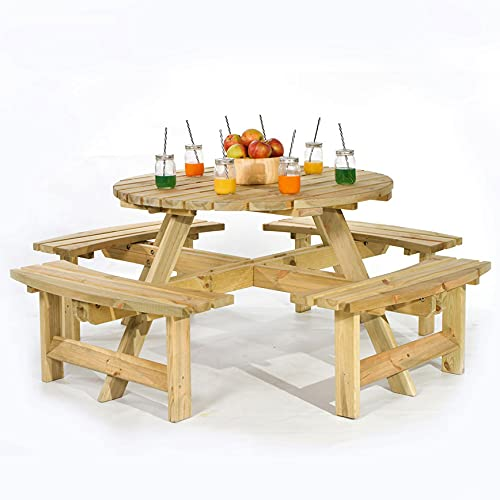 BrackenStyle 8 Seater Round Picnic Table