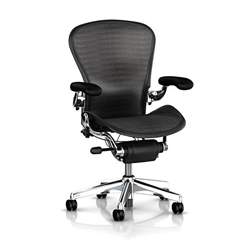 Hot Sale Executive Aeron Chair by Herman Miller - Polished Aluminum Frame - Leather Arms - PostureFit Lumbar - Grey-Black Tuxedo Size B (Medium)