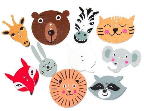 Handarbeit-Lieblingsladen 100 Stück Holzknöpfe Bunte Tierköpfe 2,2cm-3cm im Mix - Zweiloch - Knöpfe Knopf Holzknopf zum annähen nähen aufnähen Scrapbooking Bastelknöpfe Kinderkleidung