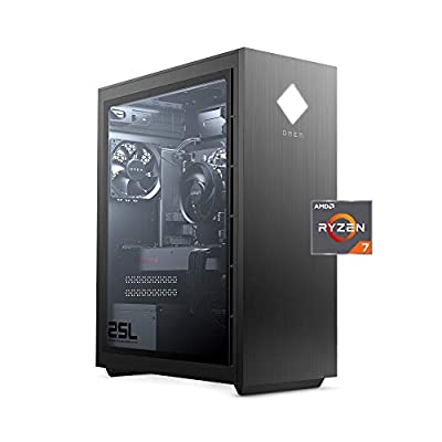 OMEN 25L by HP Gaming Desktop Computer, AMD Ryzen 7 3700X, AMD Radeon RX5500 Graphics, HyperX 16GB RAM, 512GB SSD, Windows 10 Home (GT12-0030, Shadow Black), Standard