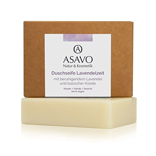 ASAVO Premium Lavendelseife, handgeschöpfte Naturseife, mit Bio-Karitébutter, nativem Bio-Kokosöl & natürlichem Lavendelöl, vegan, Clean Beauty, 95g