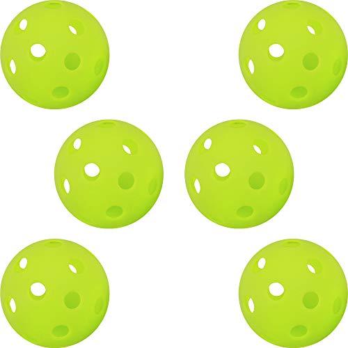 GP (ジーピー) 野球 バッティング トレーニングボール 穴あき PE素材 蛍光緑 72mm 6個入り
