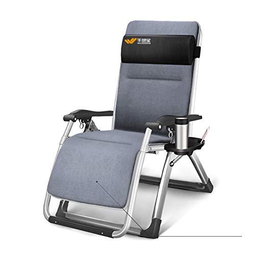 Fauteuils de salon inclinables Chaise Zero Gravity surdimensionnée avec coussin en daim, chaises longues et inclinables de jardin avec chaises longues pour le camping sur la plage (Couleur : Gray)