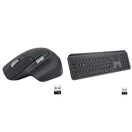 Logitech MX Master 3 Mouse, Wireless, Ergonomico, 4000 dpi, USB-C, Bluetooth, USB, Mac Apple + Mx Keys Tastiera Wireless Avanzata con Illuminazione, Digitazione Reattiva, Layout Italiano QWERTY