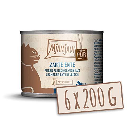 MjAMjAM - Pienso acuoso para Gatos - Suave Pato Puro - Sin Cereales - 6 x 200 g