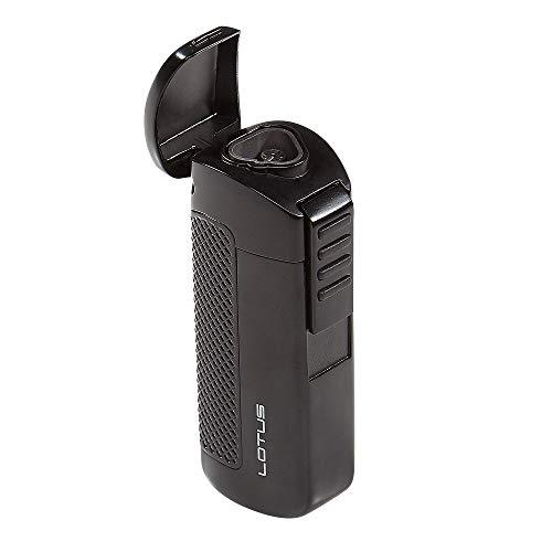 Lotus CEO Triple Torch Flame Lighter w/ Cigar Punch - Black Matte