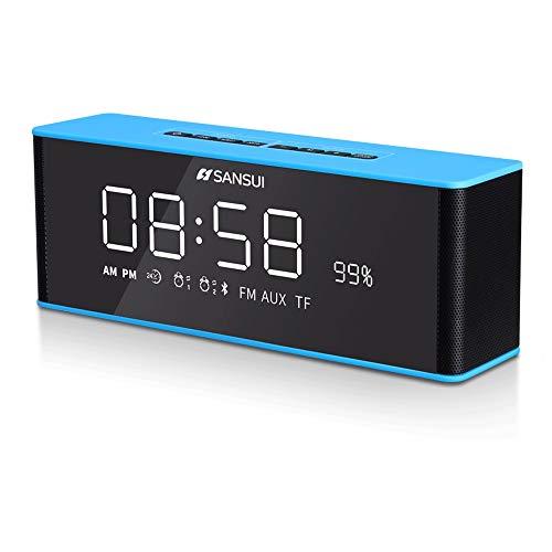 CMMIN Bluetooth sound klok Bluetooth luidspreker wekker sterke radio voor slaapkamer nachtkastje voor thuisbioscoop in huis, in de studie (kleur: blauw), random color