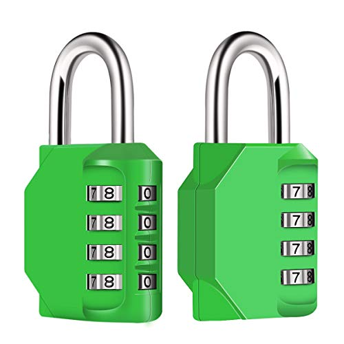 Diyife 2 Pack 4-Stelliges Zahlenschloss, Kombinationsschloss, Vorhängeschloss, Wetterfestes Metall & Plated Steel Combination Lock für Schule, Gym & Sports, Hasp Cabinet & Storage - Grün