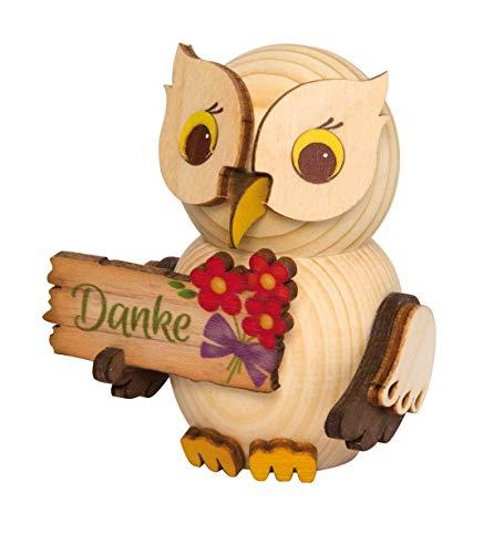 Kuhnert - Diferentes búhos - Figura decorativa / decoración de madera - Varios tamaños - Fabricado en Alemania (con placa de agradecimiento)