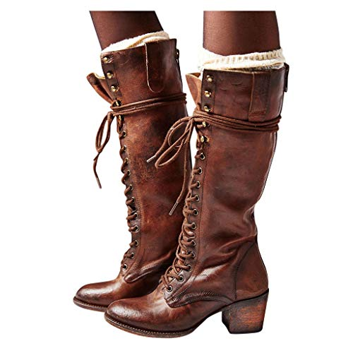 Women's Lace up Knee High Boots Roman Rider Cowboy Chunky Heel Boot Leather Retro Riding Shoes (8, Brown)